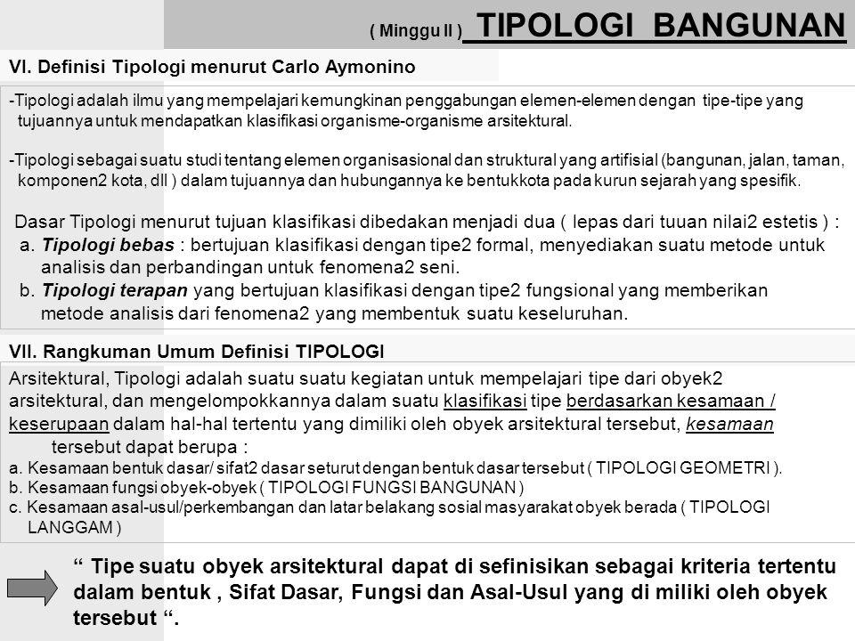 ( Minggu II ) TIPOLOGI BANGUNAN VI. Definisi Tipologi menurut Carlo Aymonino -Tipologi adalah ilmu yang mempelajari kemungkinan penggabungan elemen-el