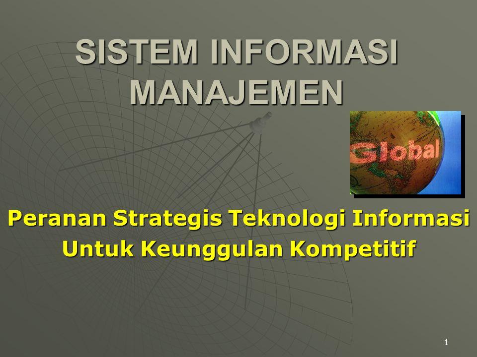 1 SISTEM INFORMASI MANAJEMEN Peranan Strategis Teknologi Informasi Untuk Keunggulan Kompetitif