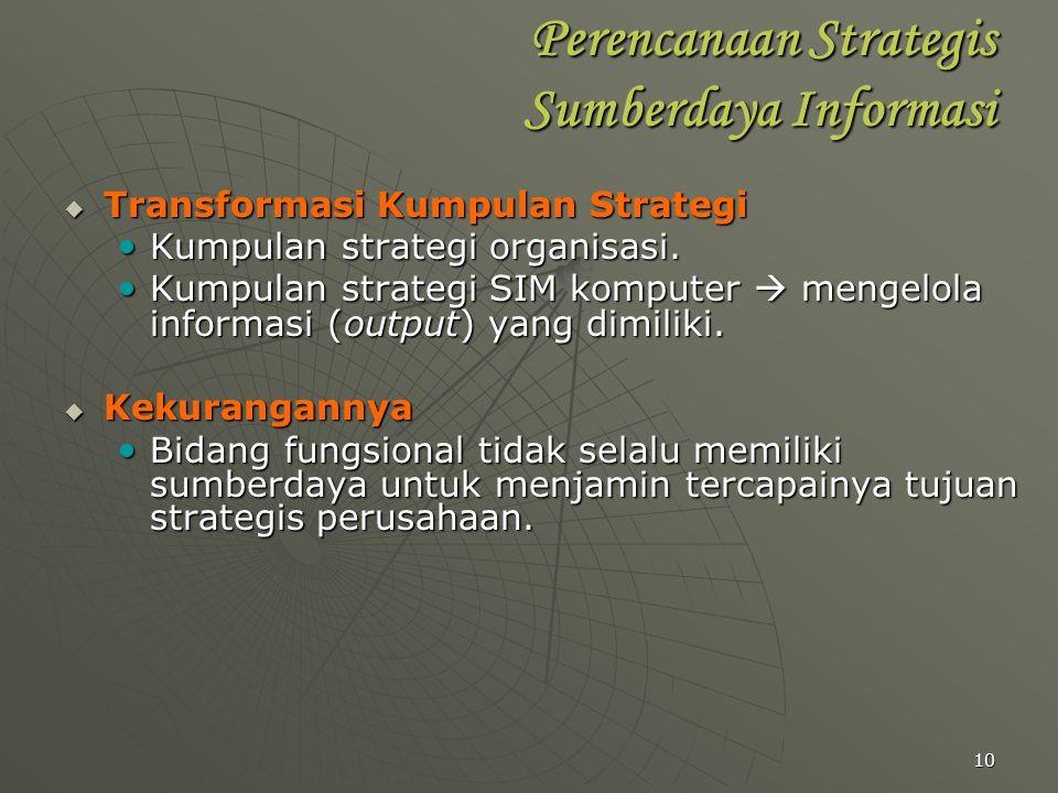 10 Perencanaan Strategis Sumberdaya Informasi  Transformasi Kumpulan Strategi Kumpulan strategi organisasi. Kumpulan strategi organisasi. Kumpulan st