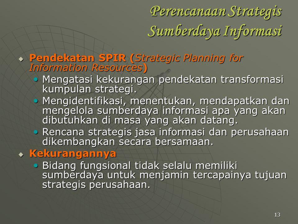 13 Perencanaan Strategis Sumberdaya Informasi  Pendekatan SPIR (Strategic Planning for Information Resources) Mengatasi kekurangan pendekatan transfo