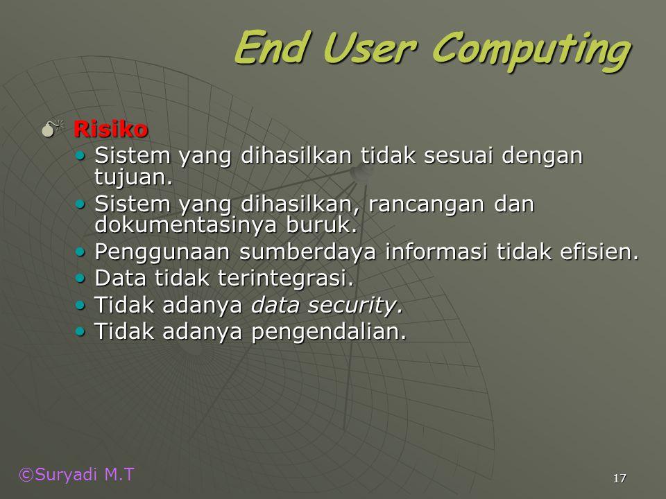 ©Suryadi M.T 17 End User Computing  Risiko Sistem yang dihasilkan tidak sesuai dengan tujuan. Sistem yang dihasilkan tidak sesuai dengan tujuan. Sist