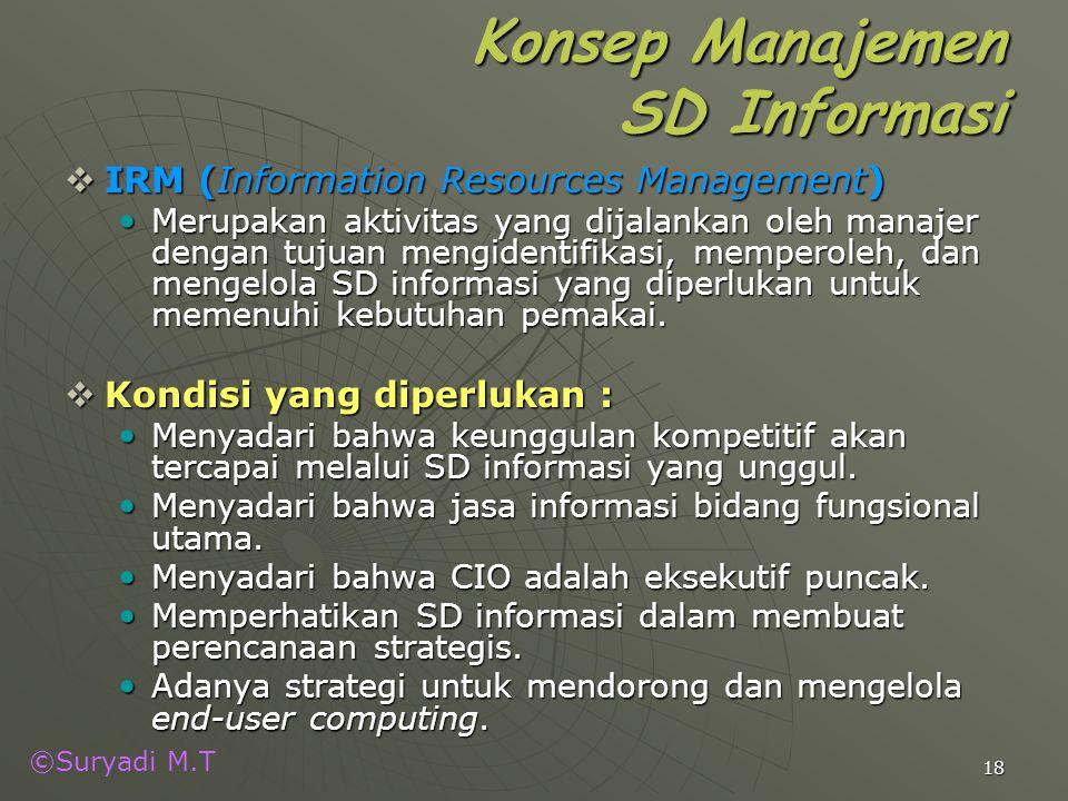 ©Suryadi M.T 18 Konsep Manajemen SD Informasi  IRM (Information Resources Management) Merupakan aktivitas yang dijalankan oleh manajer dengan tujuan