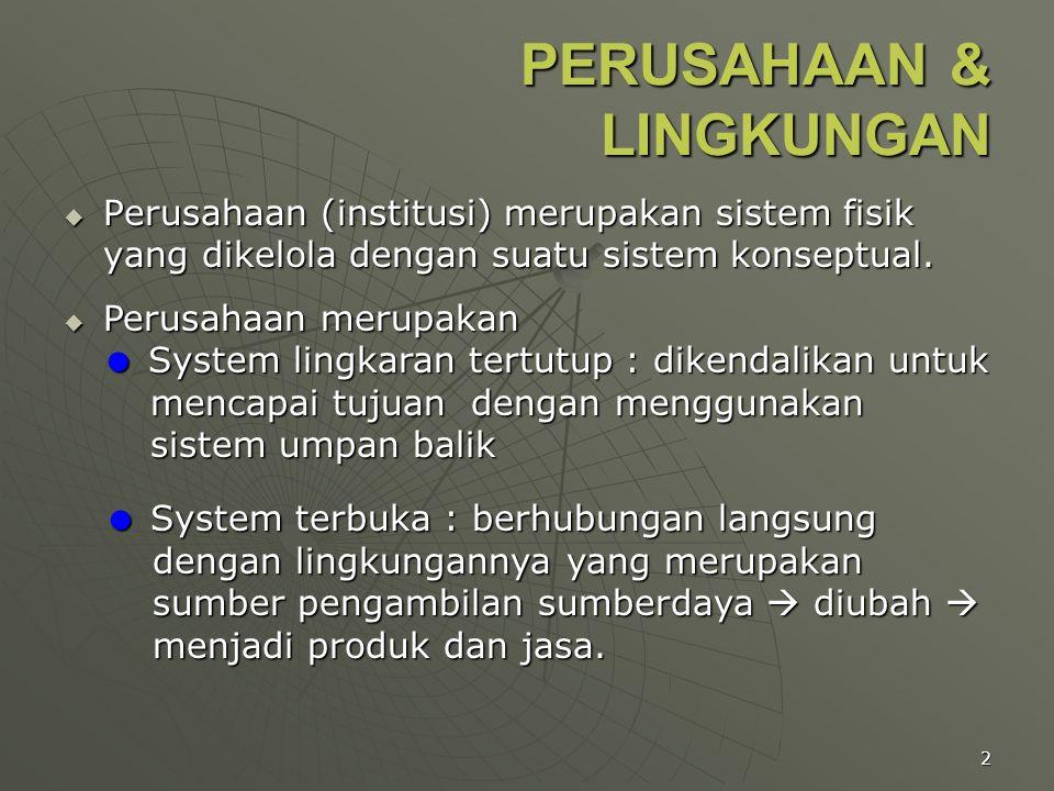 2 PERUSAHAAN & LINGKUNGAN  Perusahaan (institusi) merupakan sistem fisik yang dikelola dengan suatu sistem konseptual.  Perusahaan merupakan  Syste