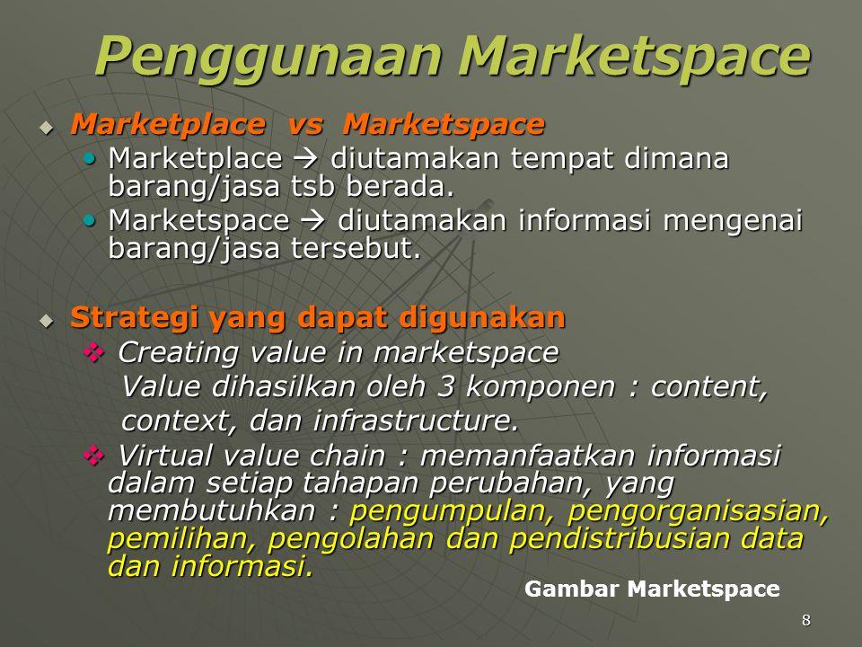 8 Penggunaan Marketspace  Marketplace vs Marketspace Marketplace  diutamakan tempat dimana barang/jasa tsb berada. Marketplace  diutamakan tempat d
