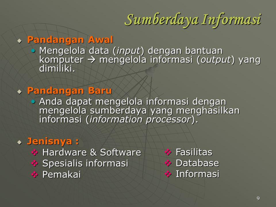 9 Sumberdaya Informasi  Pandangan Awal Mengelola data (input) dengan bantuan komputer  mengelola informasi (output) yang dimiliki. Mengelola data (i