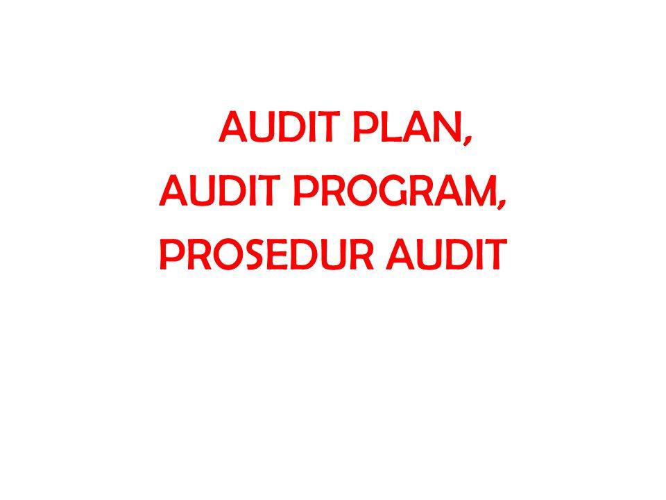 Hal-hal tambahan d.Bantuan yang dapat diberikan klien Mengisi formulir konfirmasi piutang, utang Membuat schedule  Aging Schedule  Rincian Harga Tetap  Rincian Utang dan Piutang  Rincian Biaya yang Masih Harus Dibayar e.Time Schedule Jadwal kerja per bulan Siapa yang mengerjakan Berapa jam waktu yang dibutuhkan Pada akhir Audit Plan, mencantumkan : 1.Dibuat oleh: 2.Review oleh: 3.Approved oleh: (harus diapproved oleh Partner)
