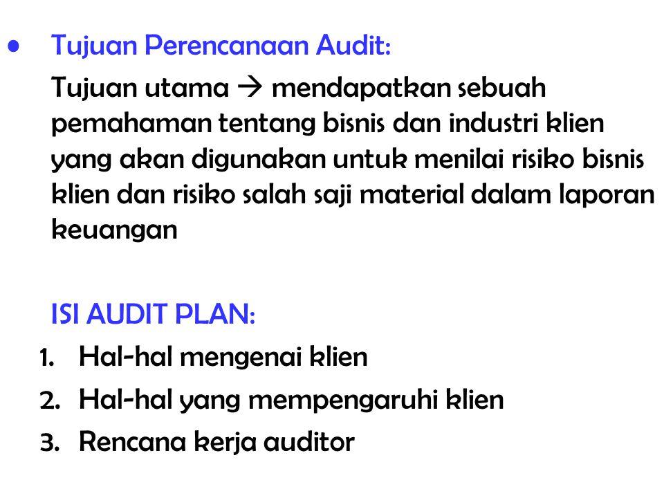 Tujuan Perencanaan Audit: Tujuan utama  mendapatkan sebuah pemahaman tentang bisnis dan industri klien yang akan digunakan untuk menilai risiko bisni