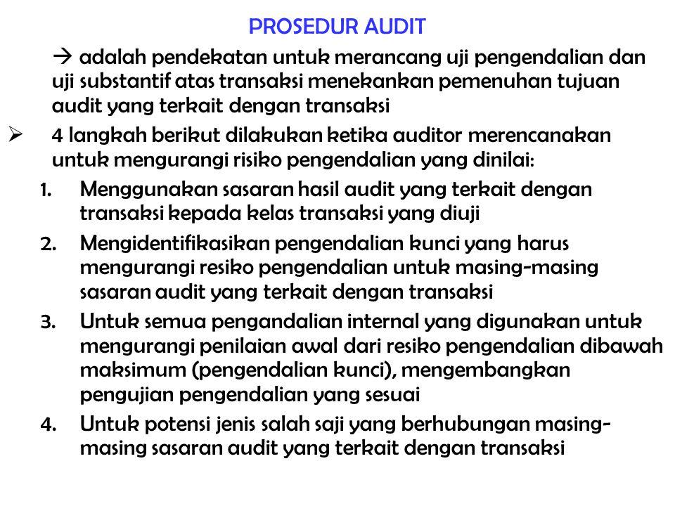PROSEDUR AUDIT  adalah pendekatan untuk merancang uji pengendalian dan uji substantif atas transaksi menekankan pemenuhan tujuan audit yang terkait d