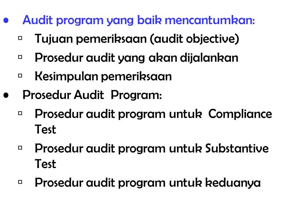 Audit program yang baik mencantumkan:  Tujuan pemeriksaan (audit objective)  Prosedur audit yang akan dijalankan  Kesimpulan pemeriksaan Prosedur A