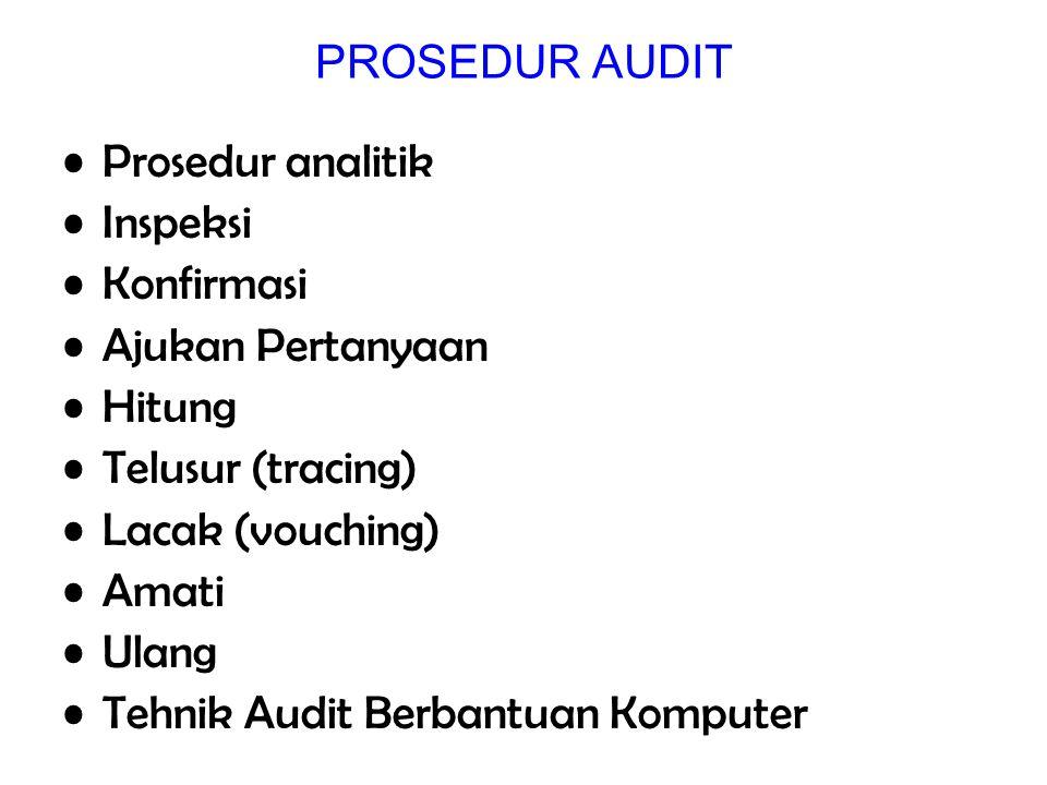 PROSEDUR AUDIT Prosedur analitik Inspeksi Konfirmasi Ajukan Pertanyaan Hitung Telusur (tracing) Lacak (vouching) Amati Ulang Tehnik Audit Berbantuan K