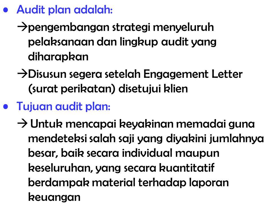 Audit plan adalah:  pengembangan strategi menyeluruh pelaksanaan dan lingkup audit yang diharapkan  Disusun segera setelah Engagement Letter (surat