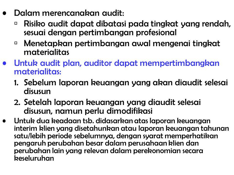 Pra-perencanaan audit  perolehan informasi untuk menilai risiko akseptibilitas audit dan risiko inheren Risiko Akseptibilitas Audit –Ukuran untuk menilai seberapa besar kesediaan auditor untuk menerima bahwa laporan keuangan mungkin saja disajikan dengan kesalahan penyajian yang material setelah proses audit diselesaikan dan pendapat unqualified telah dinyatakan (Risiko nol persen  yakin sekali, Risiko 100 persen  benar- benar tidak yakin) Risiko Inheren –Ukuran penilaian auditor atas kemungkinan adanya kesalahan penyajian yang material atas akun sebelum mempertimbangkan efektifitas pengendalian intern