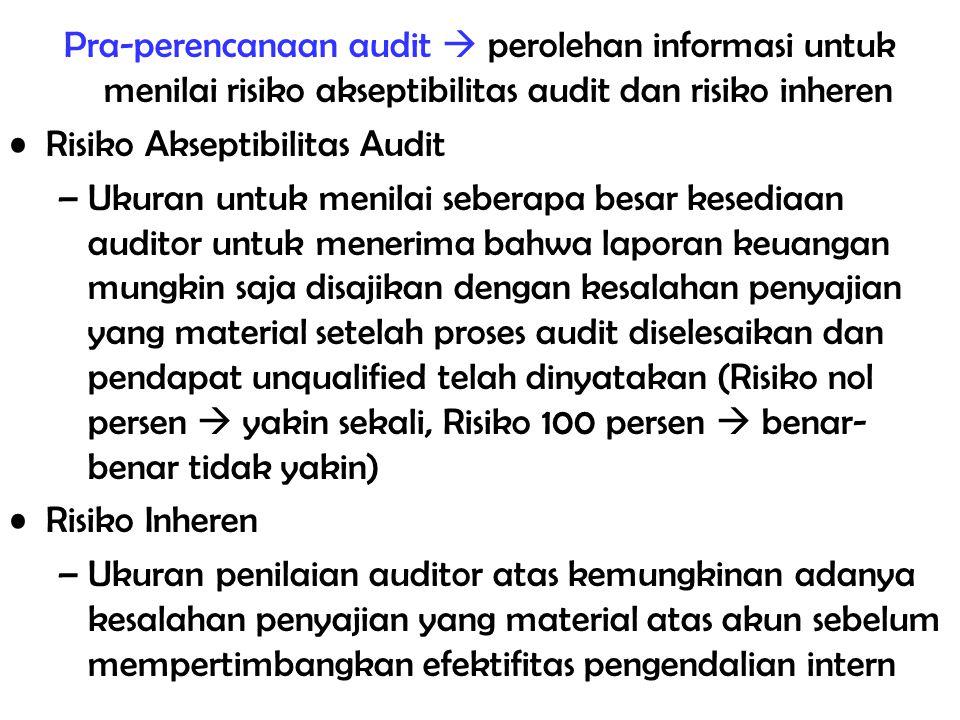 Pra-perencanaan audit  perolehan informasi untuk menilai risiko akseptibilitas audit dan risiko inheren Risiko Akseptibilitas Audit –Ukuran untuk men