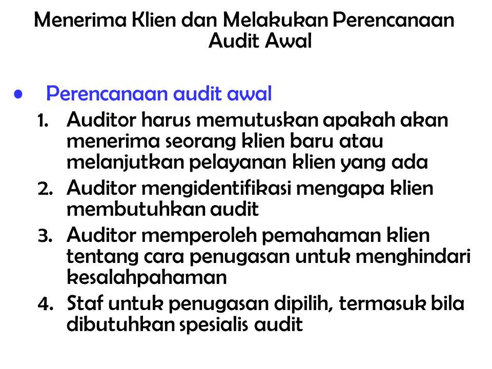 Prosedur yang dipertimbangkan dalam perencanaan dan supervisi: a.Arsip korespondensi, kertas kerja, arsip permanen, laporan keuangan dan laporan audit tahun lalu b.Membahas masalah (yang mempunyai dampak audit) dengan staf KAP yang bertanggungjawab atas jasa non audit c.Mengajukan pertanyaan tentang perkembangan bisnis yang berdampak terhadap entitas d.Membaca laporan keuangan interim tahun berjalan e.Membicarakan tipe, luas dan waktu audit dengan manajemen, dewan komisaris atau komite audit f.Mempertimbangkan dampak diterapkannya pernyataan standar akuntansi dan auditing g.Mengkoordinasikan bantuan dari pegawai perusahaan klien dalam penyiapan data h.Menentukan luasnya keterlibatan, jika ada, konsultan, spesialis dan auditor intern i.Membuat jadwal pekerjaan audit (time schedule) j.Menentukan dan mengkoordinasikan kebutuhan staf audit k.Melaksanakan diskusi dengan pihak pemberi tugas untuk memperoleh tambahan informasi tentang tujuan audit yang akan dilaksanakan sehingga auditor dapat mengantisipasi dan memberikan perhatian terhadap hal yang berkaitan