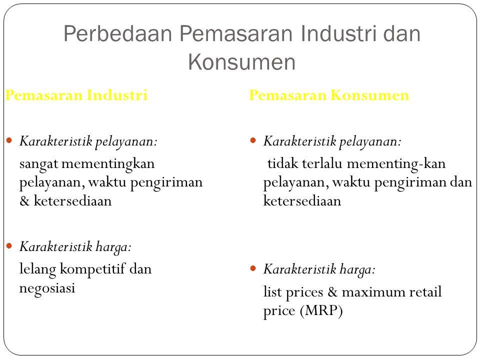 Perbedaan Pemasaran Industri dan Konsumen Pemasaran Industri Karakteristik pelayanan: sangat mementingkan pelayanan, waktu pengiriman & ketersediaan K