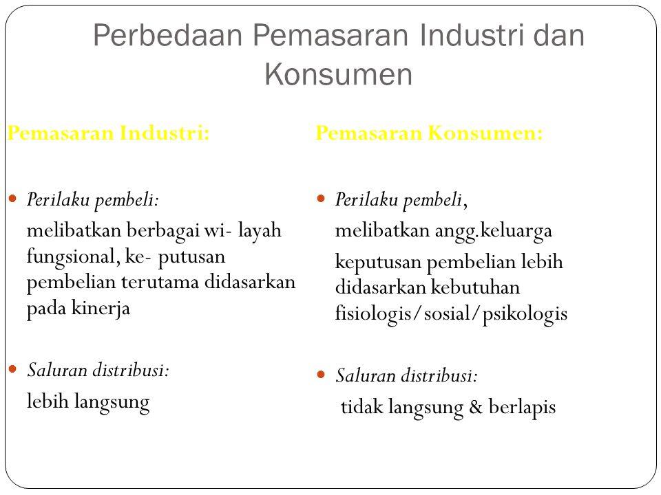Perbedaan Pemasaran Industri dan Konsumen Pemasaran Industri: Perilaku pembeli: melibatkan berbagai wi- layah fungsional, ke- putusan pembelian teruta