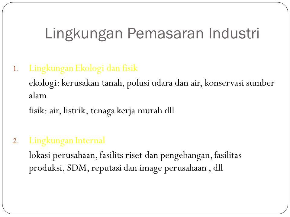 Lingkungan Pemasaran Industri 1. Lingkungan Ekologi dan fisik ekologi: kerusakan tanah, polusi udara dan air, konservasi sumber alam fisik: air, listr