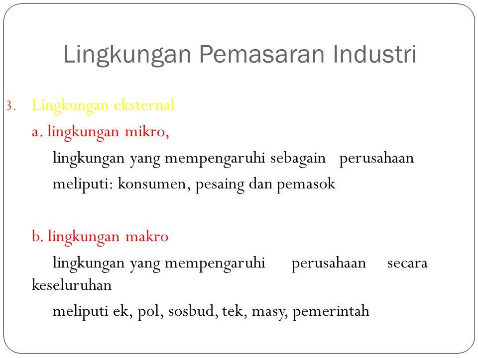 Lingkungan Pemasaran Industri 3. Lingkungan eksternal a. lingkungan mikro, lingkungan yang mempengaruhi sebagain perusahaan meliputi: konsumen, pesain