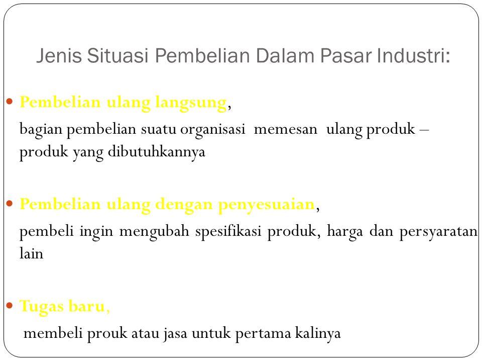 Jenis Situasi Pembelian Dalam Pasar Industri: Pembelian ulang langsung, bagian pembelian suatu organisasi memesan ulang produk – produk yang dibutuhka