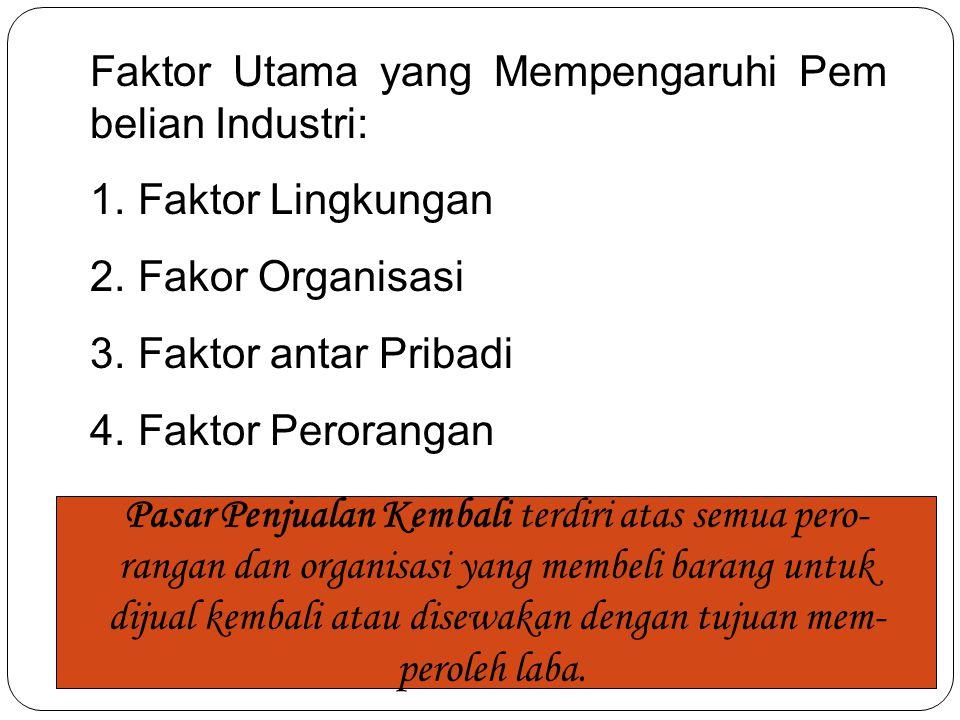 Faktor Utama yang Mempengaruhi Pem belian Industri: 1. Faktor Lingkungan 2. Fakor Organisasi 3. Faktor antar Pribadi 4. Faktor Perorangan Pasar Penjua