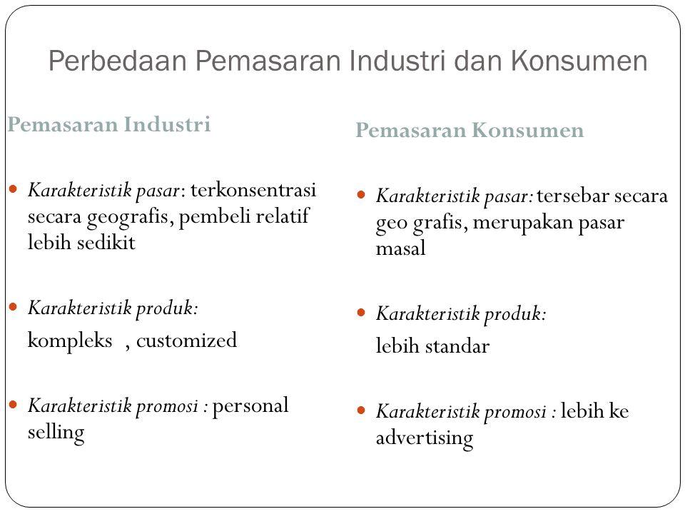 Perbedaan Pemasaran Industri dan Konsumen Pemasaran Industri Karakteristik pasar: terkonsentrasi secara geografis, pembeli relatif lebih sedikit Karak
