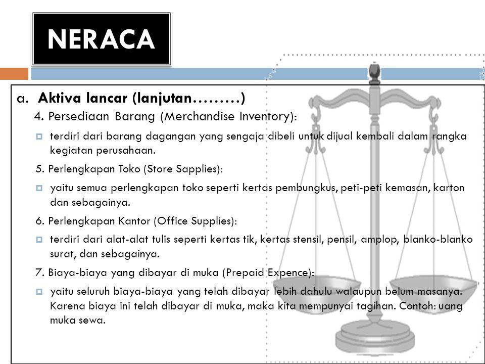 NERACA a. Aktiva lancar (lanjutan………) 4. Persediaan Barang (Merchandise Inventory):  terdiri dari barang dagangan yang sengaja dibeli untuk dijual ke