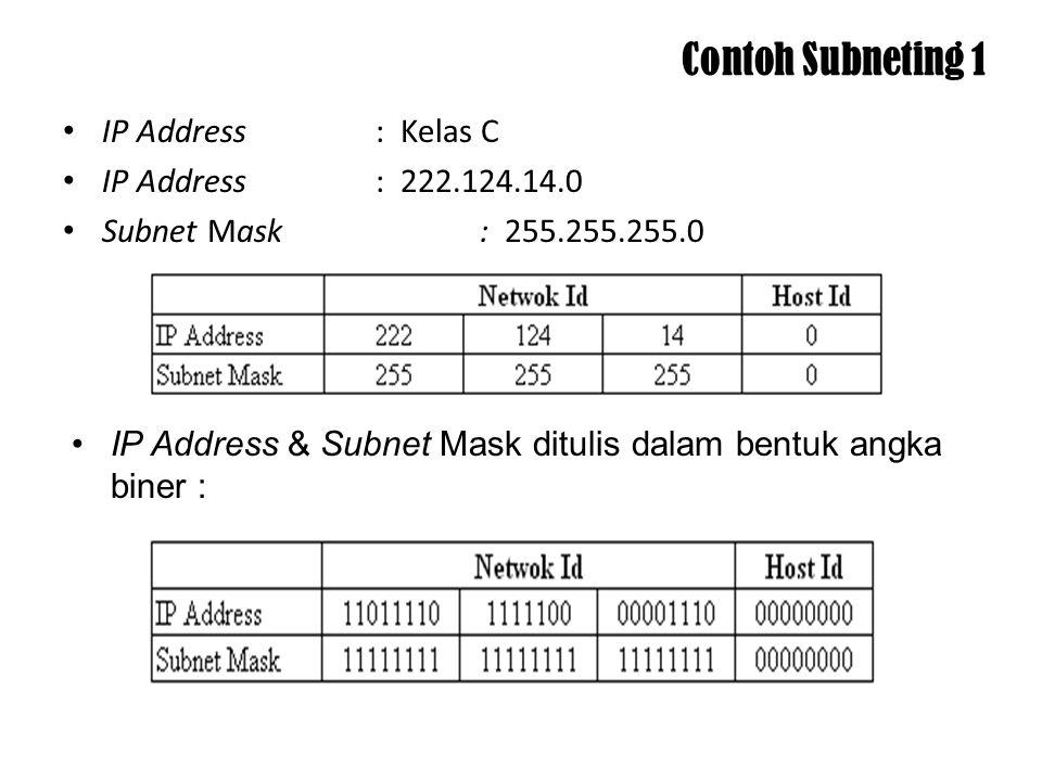 Kelas C Soal : Network ID (desimal): 200.120.10.0 Network ID (biner): 11001000.01111000.00001010.00000000 Subnet Mask (desimal): 255.255.255.0 Subnet Mask (biner): 11111111.11111111.11111111.00000000 Jumlah bit mask: 4 bit Penyelesaian: Subnet Mask baru (desimal): 255.255.255.240 Subnet Mask baru (biner): 11111111.11111111.11111111.11110000 Jumlah subnet: 2 4 = 16 subnet