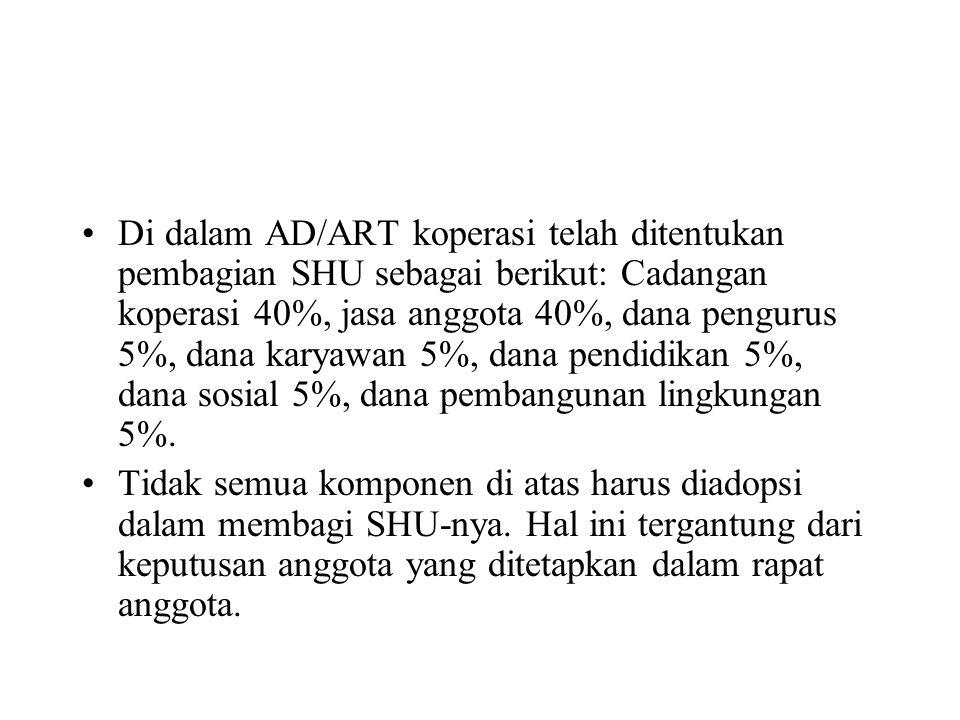 Di dalam AD/ART koperasi telah ditentukan pembagian SHU sebagai berikut: Cadangan koperasi 40%, jasa anggota 40%, dana pengurus 5%, dana karyawan 5%,