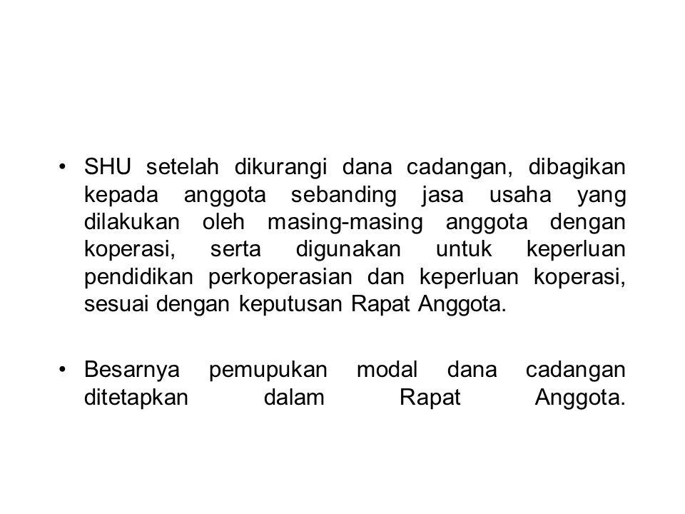 SHU setelah dikurangi dana cadangan, dibagikan kepada anggota sebanding jasa usaha yang dilakukan oleh masing-masing anggota dengan koperasi, serta di