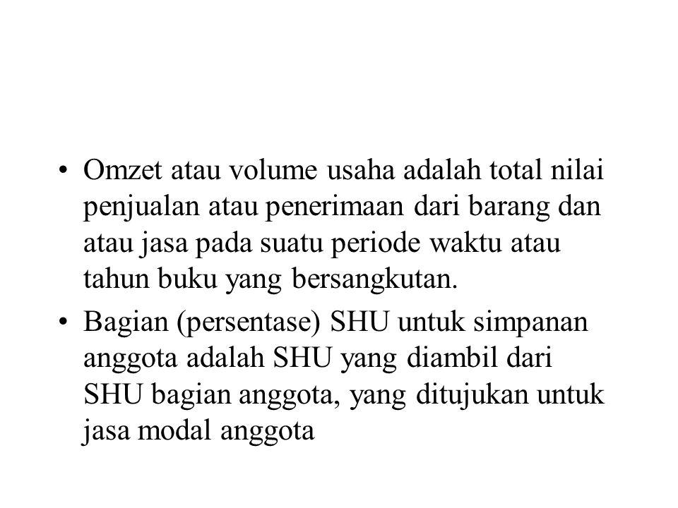 Bagian (persentase) SHU untuk transaksi usaha anggota adalah SHU yang diambil dari SHU bagian anggota, yang ditujukan untuk jasa transaksi anggota.