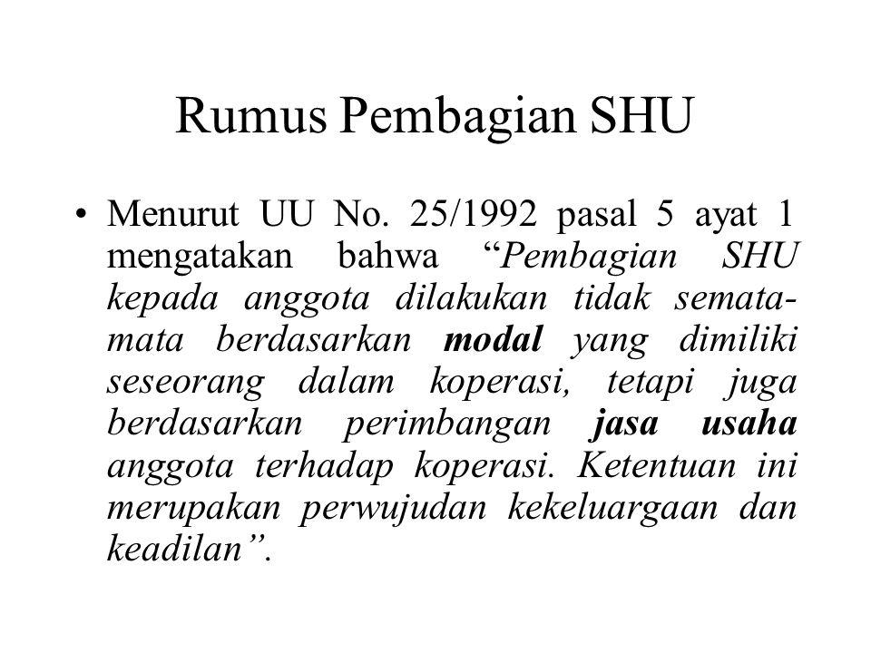 """Rumus Pembagian SHU Menurut UU No. 25/1992 pasal 5 ayat 1 mengatakan bahwa """"Pembagian SHU kepada anggota dilakukan tidak semata- mata berdasarkan moda"""