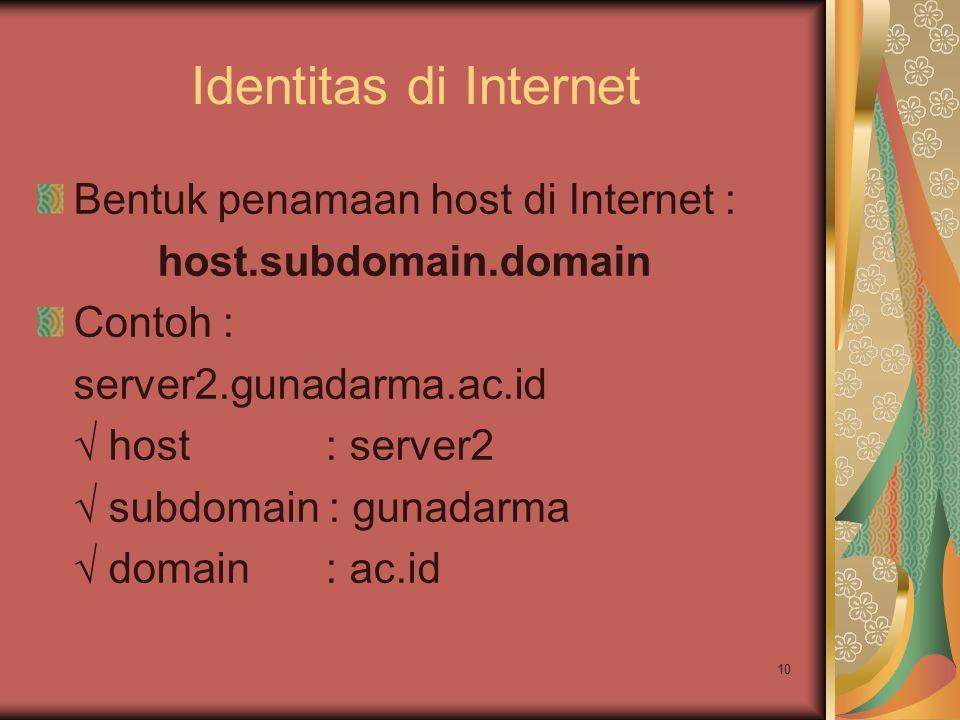 10 Identitas di Internet Bentuk penamaan host di Internet : host.subdomain.domain Contoh : server2.gunadarma.ac.id √ host: server2 √ subdomain : gunad