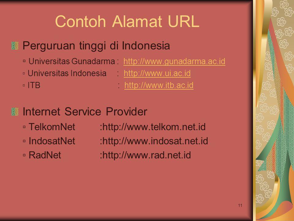 11 Contoh Alamat URL Perguruan tinggi di Indonesia ▫ Universitas Gunadarma : http://www.gunadarma.ac.idhttp://www.gunadarma.ac.id ▫ Universitas Indone