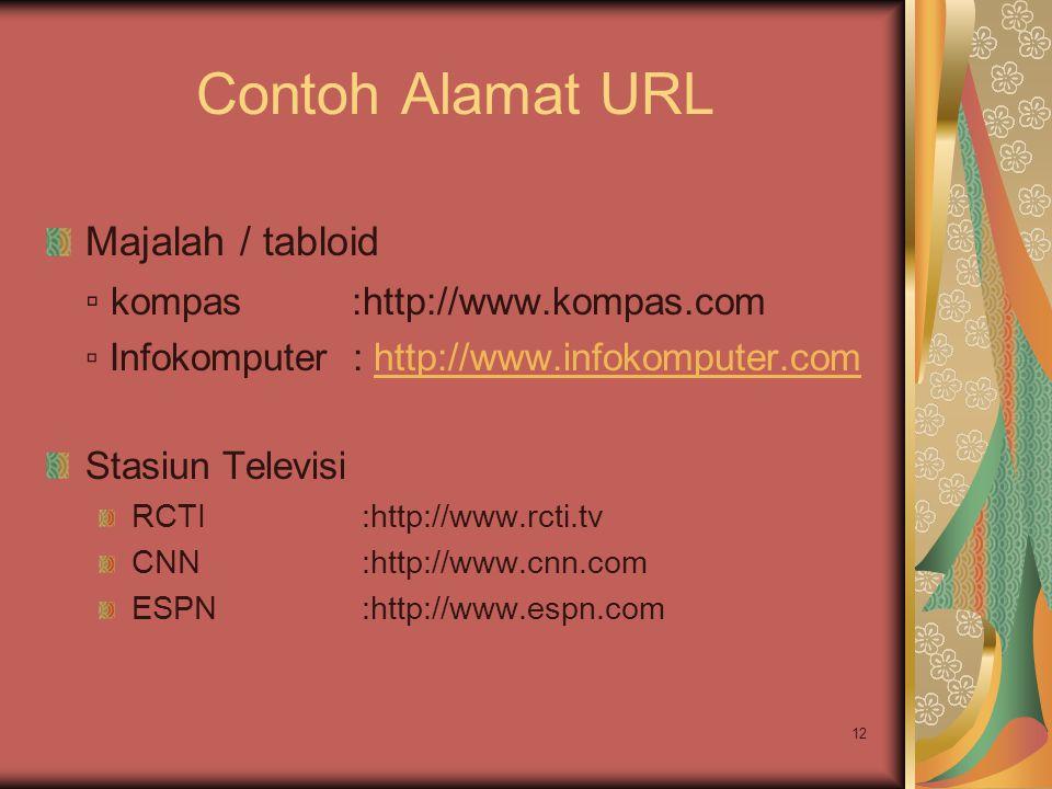 12 Contoh Alamat URL Majalah / tabloid ▫ kompas :http://www.kompas.com ▫ Infokomputer : http://www.infokomputer.comhttp://www.infokomputer.com Stasiun