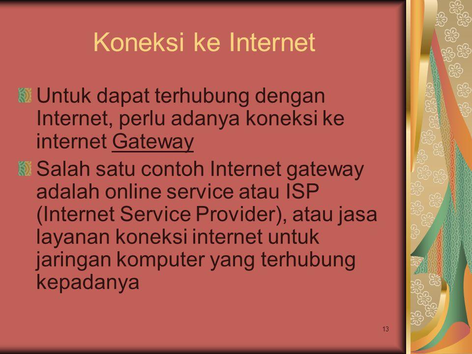 13 Koneksi ke Internet Untuk dapat terhubung dengan Internet, perlu adanya koneksi ke internet Gateway Salah satu contoh Internet gateway adalah onlin