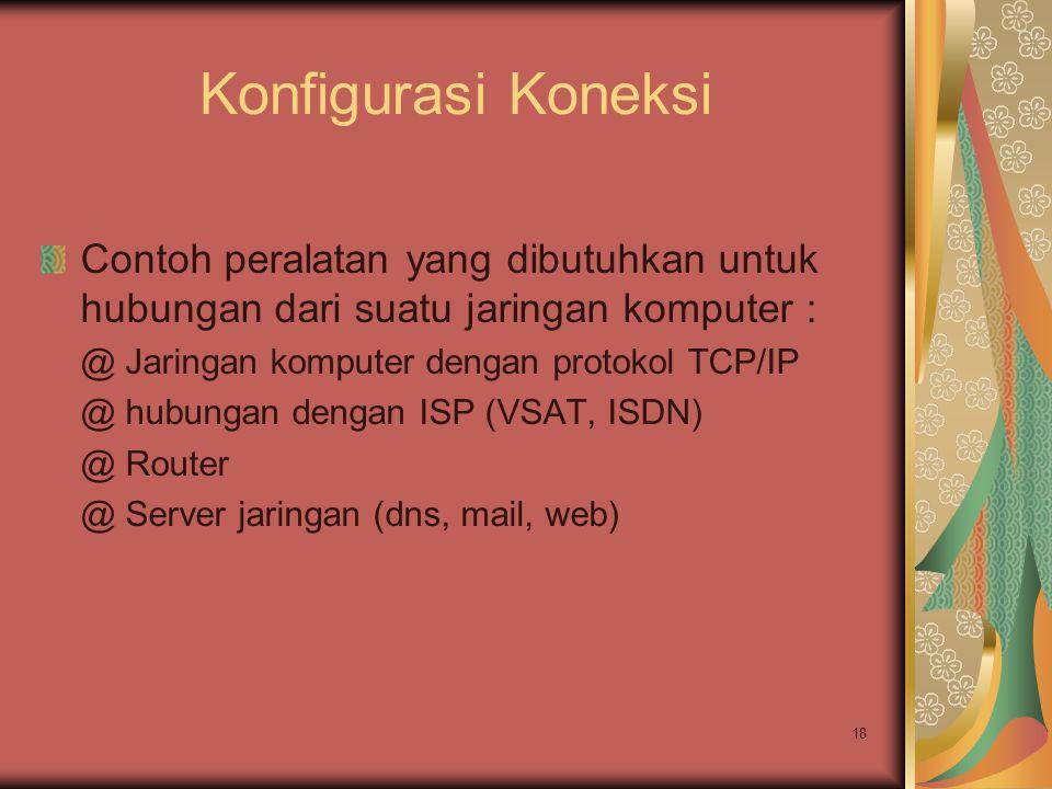 18 Konfigurasi Koneksi Contoh peralatan yang dibutuhkan untuk hubungan dari suatu jaringan komputer : @ Jaringan komputer dengan protokol TCP/IP @ hub