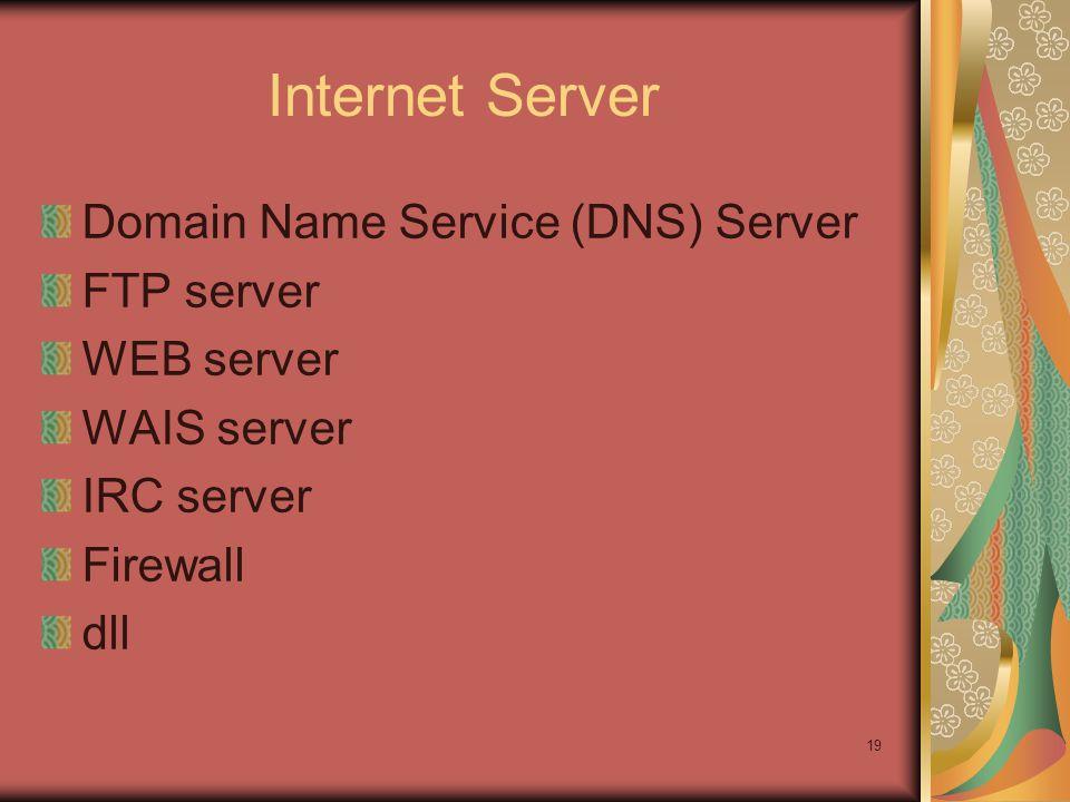 19 Internet Server Domain Name Service (DNS) Server FTP server WEB server WAIS server IRC server Firewall dll