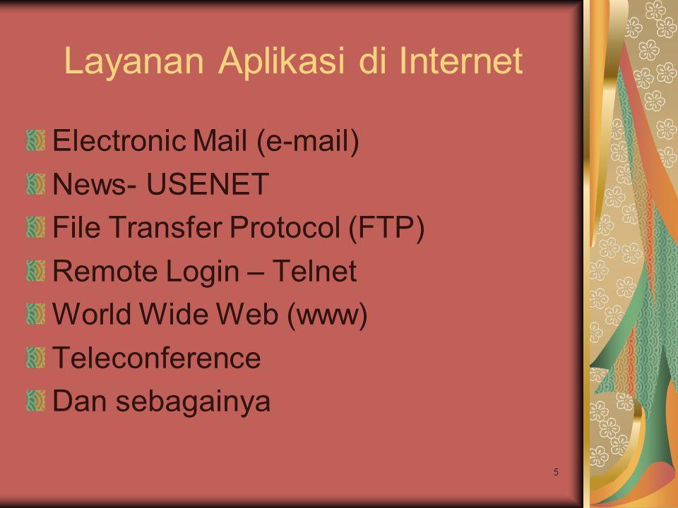 5 Layanan Aplikasi di Internet Electronic Mail (e-mail) News- USENET File Transfer Protocol (FTP) Remote Login – Telnet World Wide Web (www) Teleconfe
