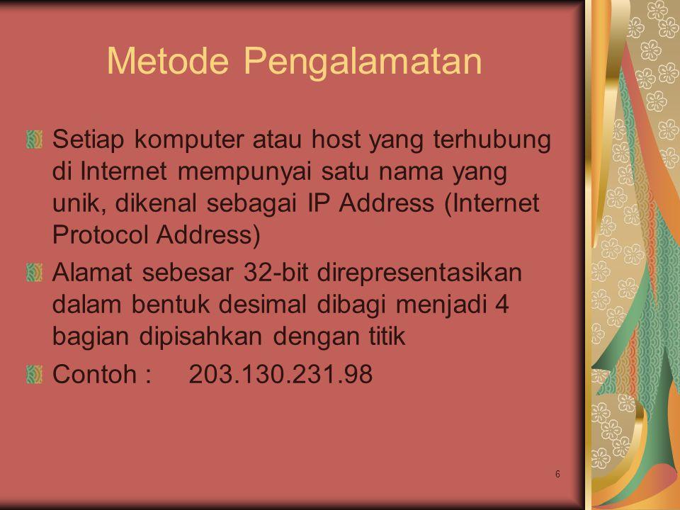 6 Metode Pengalamatan Setiap komputer atau host yang terhubung di Internet mempunyai satu nama yang unik, dikenal sebagai IP Address (Internet Protoco