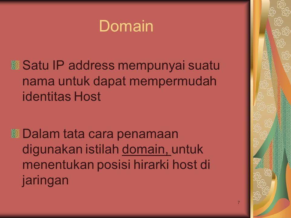 7 Domain Satu IP address mempunyai suatu nama untuk dapat mempermudah identitas Host Dalam tata cara penamaan digunakan istilah domain, untuk menentuk
