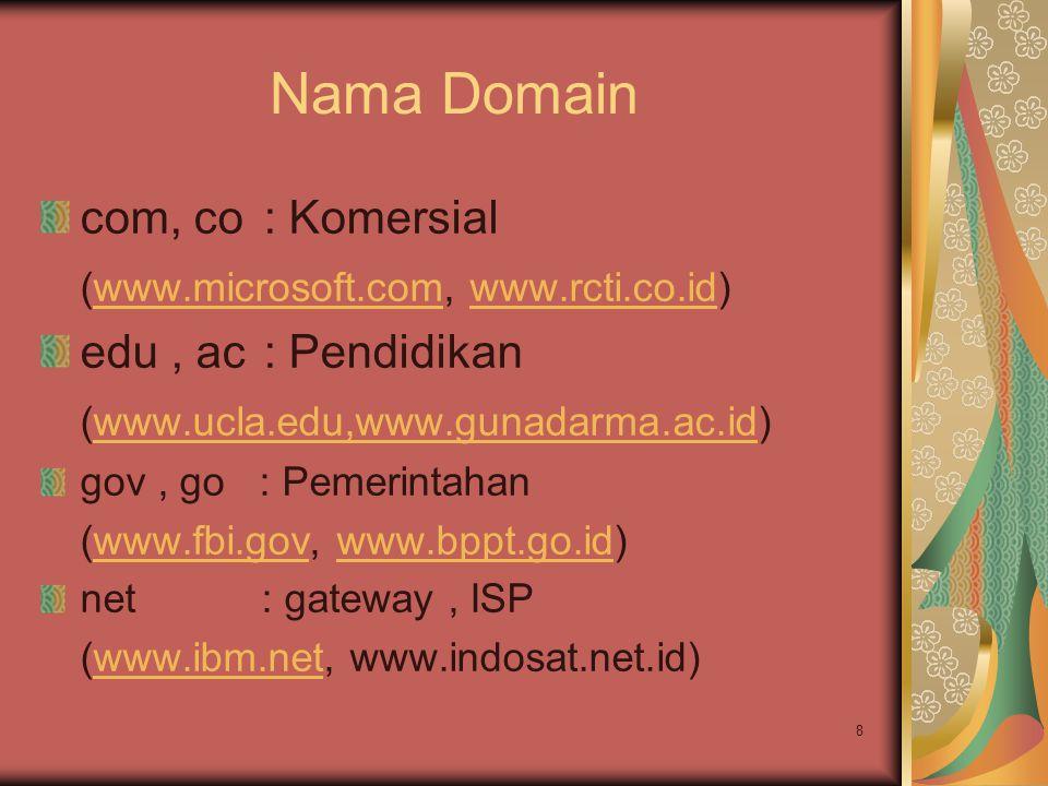 8 Nama Domain com, co : Komersial (www.microsoft.com, www.rcti.co.id)www.microsoft.comwww.rcti.co.id edu, ac : Pendidikan (www.ucla.edu,www.gunadarma.