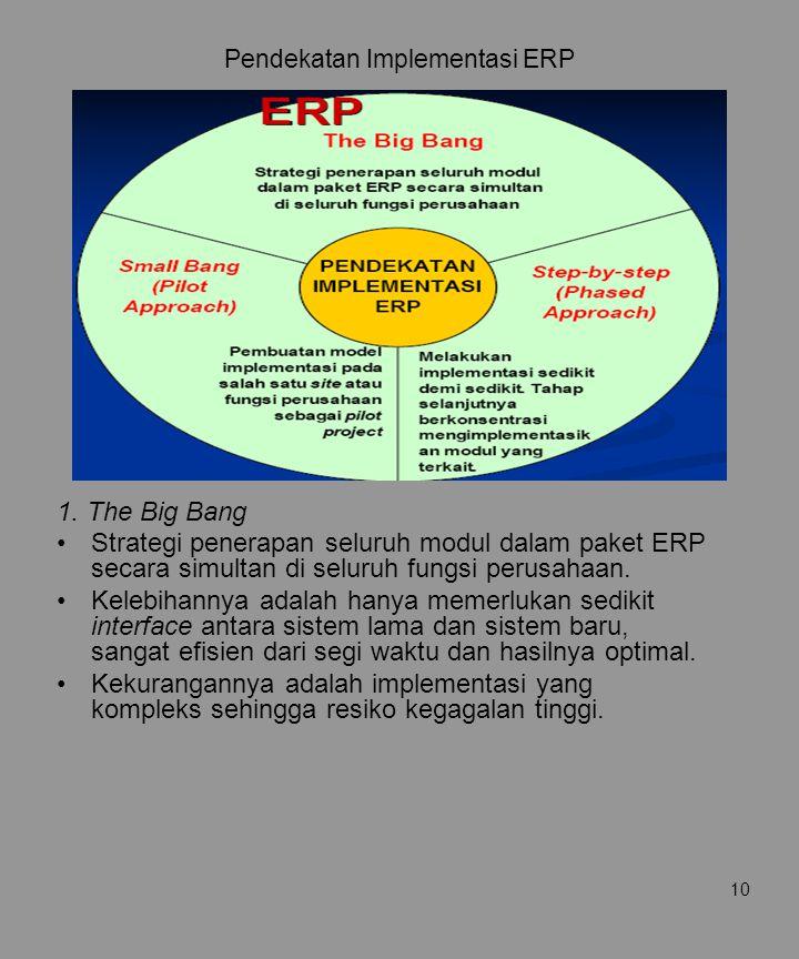 10 Pendekatan Implementasi ERP 1. The Big Bang Strategi penerapan seluruh modul dalam paket ERP secara simultan di seluruh fungsi perusahaan. Kelebiha