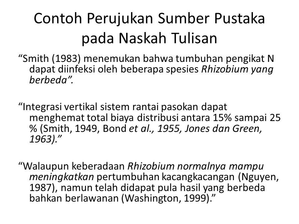 """Contoh Perujukan Sumber Pustaka pada Naskah Tulisan """"Smith (1983) menemukan bahwa tumbuhan pengikat N dapat diinfeksi oleh beberapa spesies Rhizobium"""