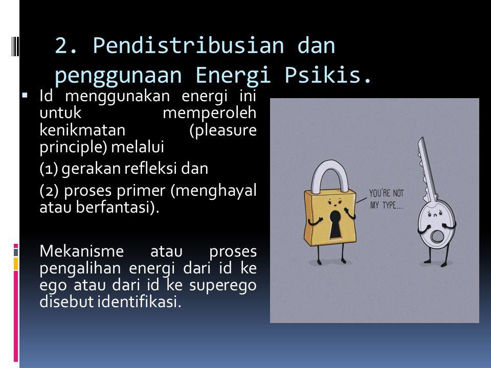 2. Pendistribusian dan penggunaan Energi Psikis.  Id menggunakan energi ini untuk memperoleh kenikmatan (pleasure principle) melalui (1) gerakan refl