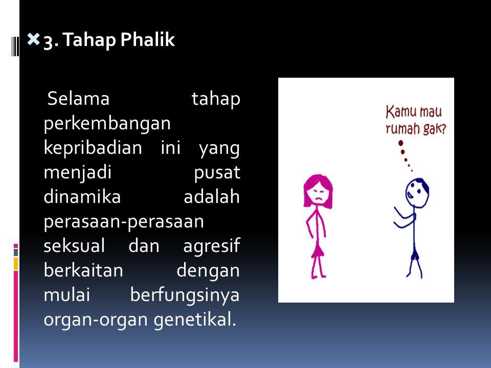  3. Tahap Phalik Selama tahap perkembangan kepribadian ini yang menjadi pusat dinamika adalah perasaan-perasaan seksual dan agresif berkaitan dengan