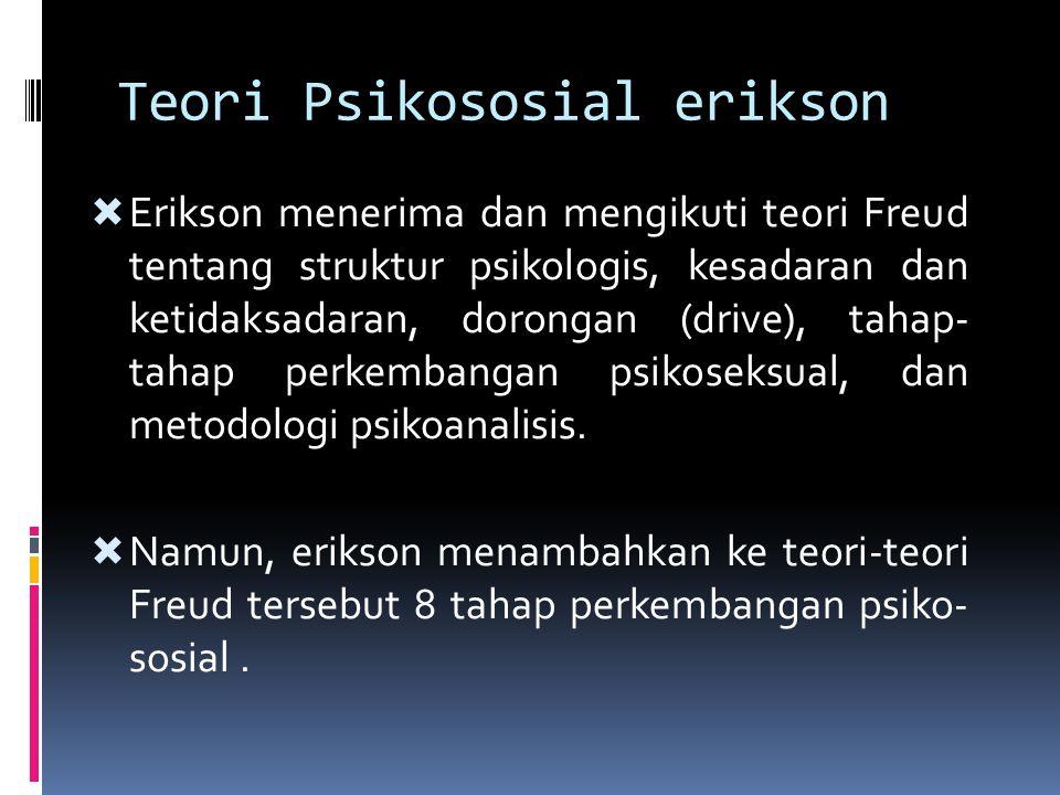 Teori Psikososial erikson  Erikson menerima dan mengikuti teori Freud tentang struktur psikologis, kesadaran dan ketidaksadaran, dorongan (drive), ta