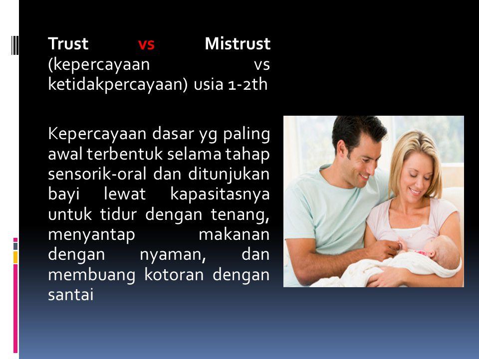 Trust vs Mistrust (kepercayaan vs ketidakpercayaan) usia 1-2th Kepercayaan dasar yg paling awal terbentuk selama tahap sensorik-oral dan ditunjukan ba