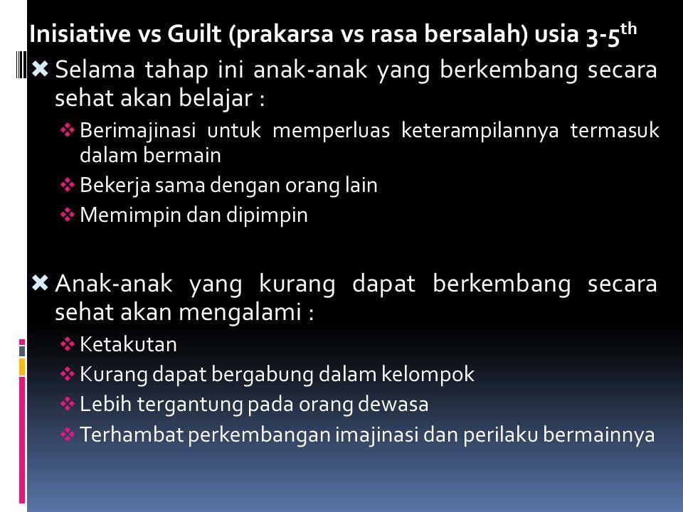 Inisiative vs Guilt (prakarsa vs rasa bersalah) usia 3-5 th  Selama tahap ini anak-anak yang berkembang secara sehat akan belajar :  Berimajinasi un