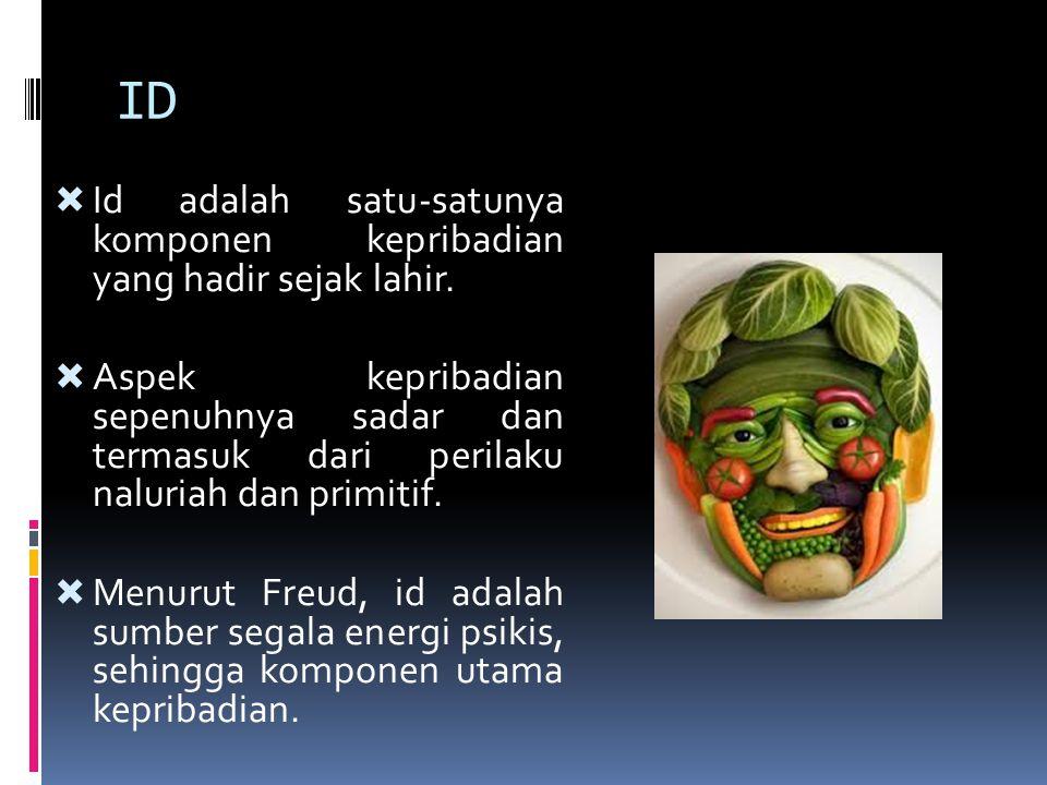 ID  Id adalah satu-satunya komponen kepribadian yang hadir sejak lahir.  Aspek kepribadian sepenuhnya sadar dan termasuk dari perilaku naluriah dan
