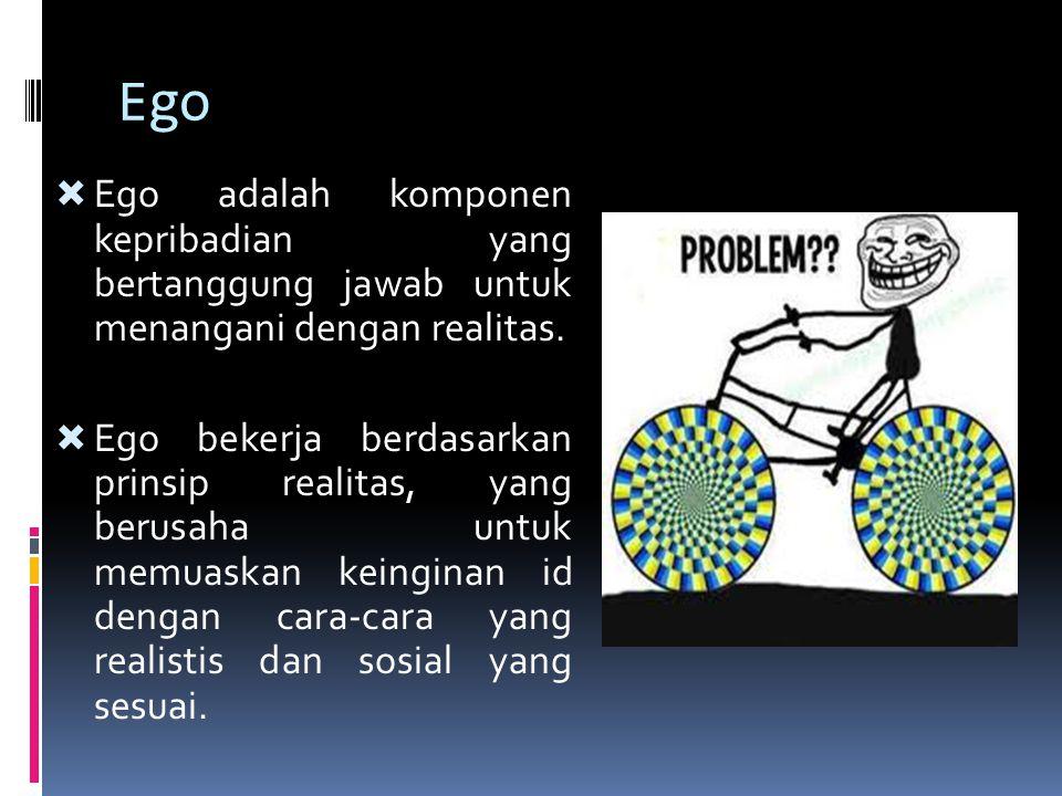 Ego  Ego adalah komponen kepribadian yang bertanggung jawab untuk menangani dengan realitas.  Ego bekerja berdasarkan prinsip realitas, yang berusah